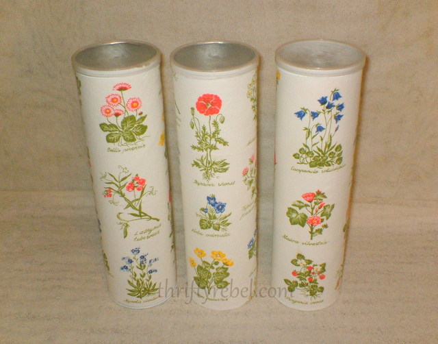 Repurposed Pringle cans into decorative storage containers