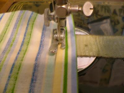 sewing hems of diy toilet tank skirt