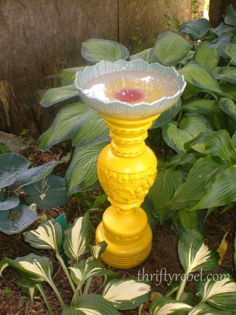 diy spray painted yellow wooden vase birdbath