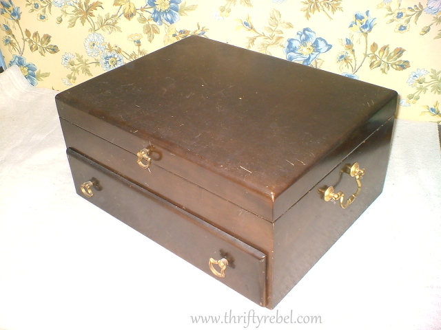 Vintage wooden cutlery chest before makeover