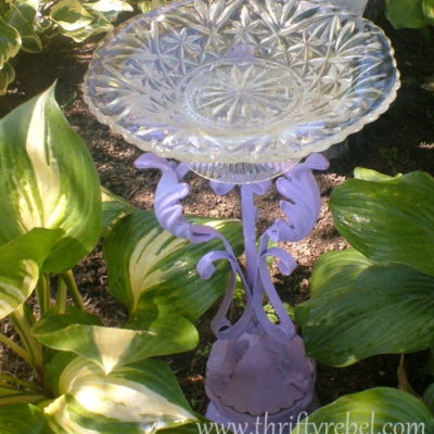 DIY Wrought Iron Candle Holder Birdbath
