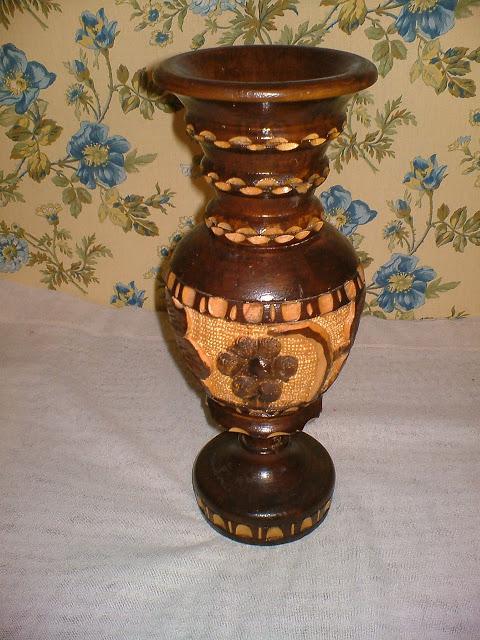 repurposed wooden vase and vintage ceramic bowl birdbath
