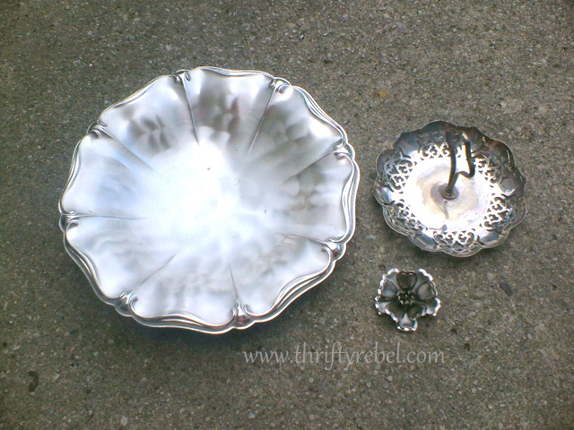 Silver plate pieces to make repurposed diy garden plate flower