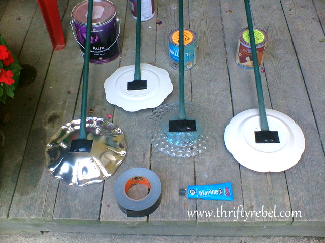 Using pipes as stems for garden plate flowers