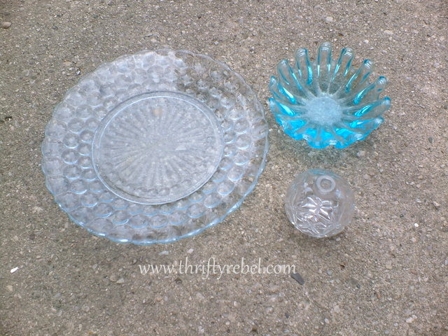 Thrifted glass pieces to make repurposed diy garden plate flowers