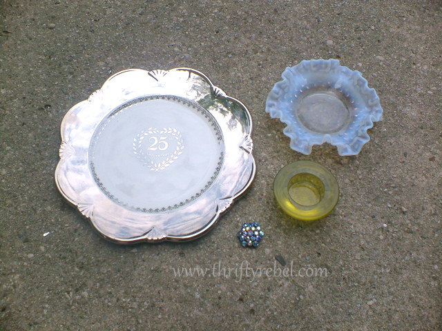 Silver plate and glass pieces to make repurposed diy garden plate flower