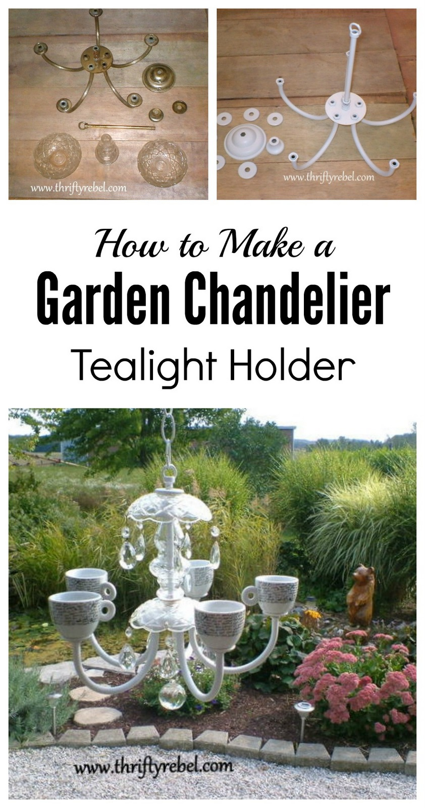 How to make a garden chandelier tealight holder