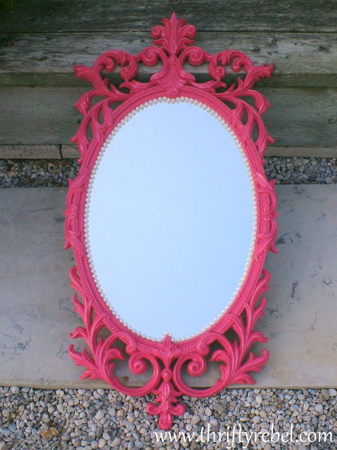Pink And Pearls Mirror Makeover Color Me Thrifty