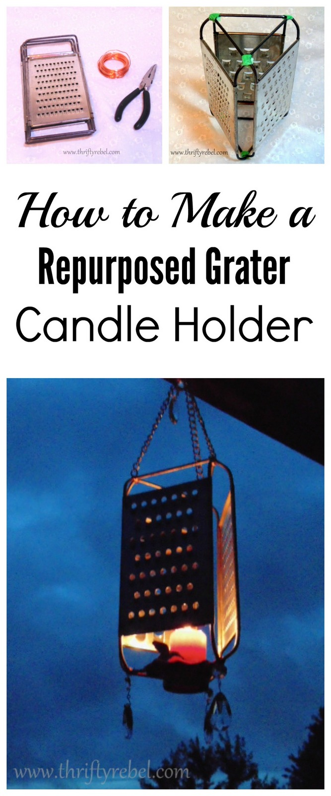 How to make a repurposed grater candle holder