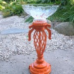 DIY Lamp into Orange Birdbath