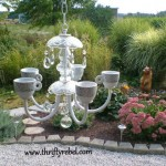 Old Chandelier Makeover into Garden Candelier