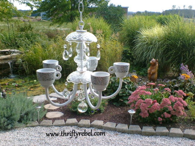 Old Chandelier Makeover into Garden Candelier Thrifty Rebel Vintage
