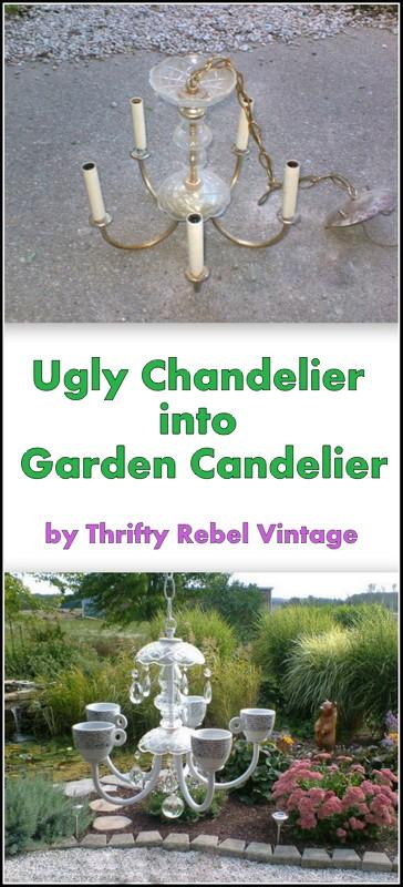 chandelier makeover into garden tealight holder