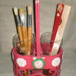 Wine Caddy Makeover for Paint Supplies