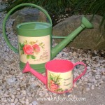 Decoupaged Watering Cans