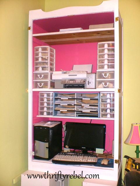 Wardrobe Makeover into Computer Armoire
