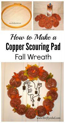 Repurposed copper scouring pad fall wreath