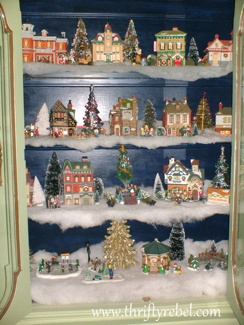 Christmas Village Display.Our Christmas Village Display Cabinet Color Me Thrifty