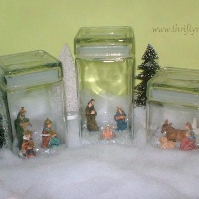 Mini Nativity Displayed in Jars
