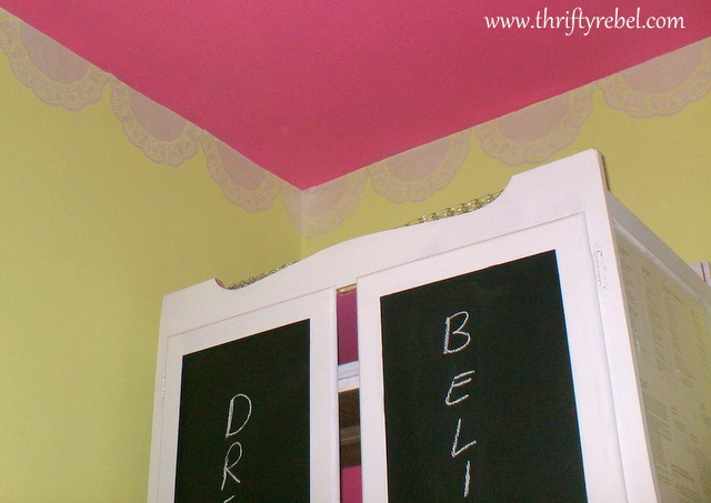pink painted ceiling