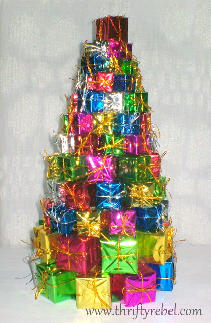 dollar store christmas tree of presents - Dollar Store Christmas Tree