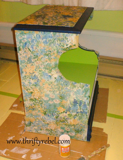 Decoupaged Night Table Makeover