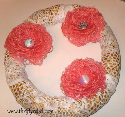 Burlap Fringed Flower Wreath