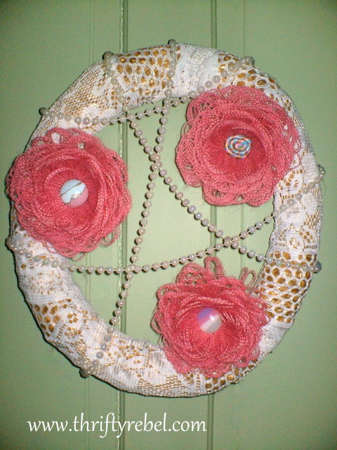 Burlap Fringed Flower Wreath