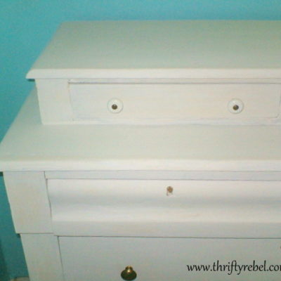 Homemade White Chalk Paint Dresser Makeover