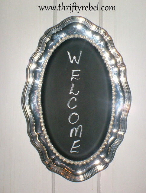 Silver Tray Chalkboard Sign