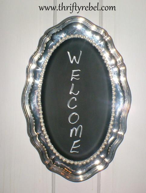 Silver Tray Chalkboard Sign