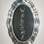 Silver Plated Tray Becomes Chalkboard & Pearls Sign