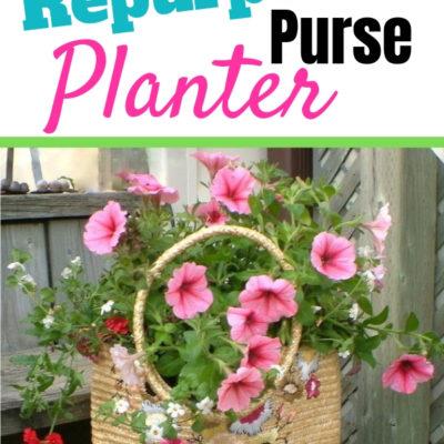 repurposed wicker purse planter