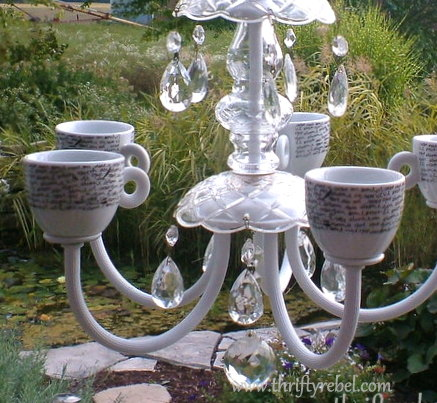 Old Chandelier Makeover into Garden Candelier