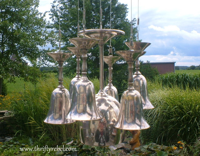 Diy silver goblet wind chimes thrifty rebel vintage for How to make a windchime out of silverware