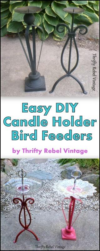 Repurposed candle holder bird feeders