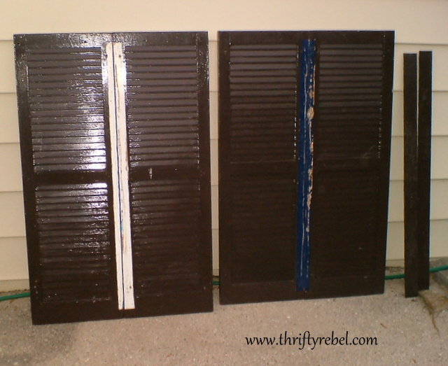 Repurposed Shutters into Headboard