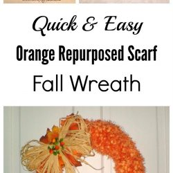 Repurposed scarf fall wreath
