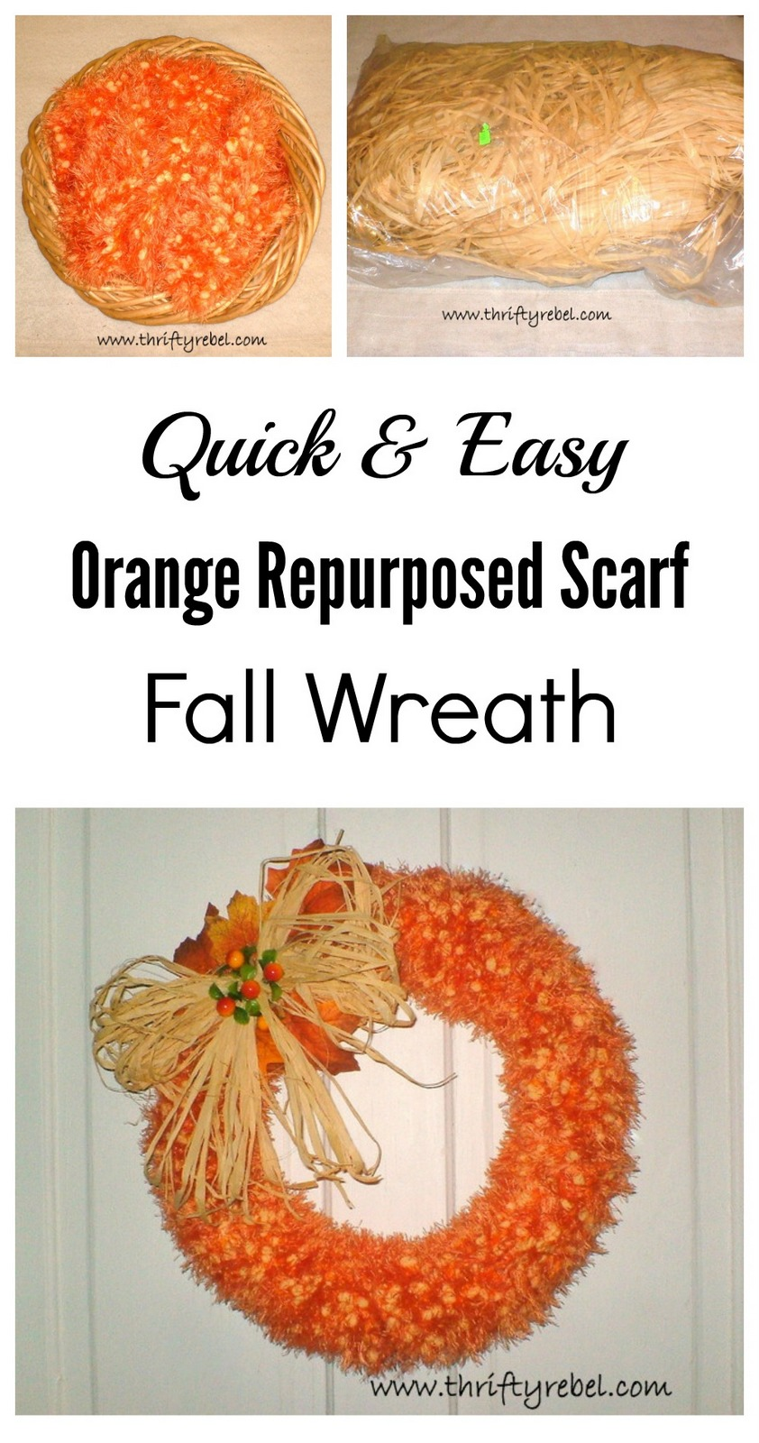 Repurposed scarf fall wreath