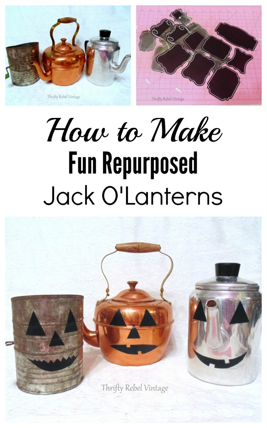 Repurposed Coffee Pot Teapot and Sifter Jack O'Lanterns