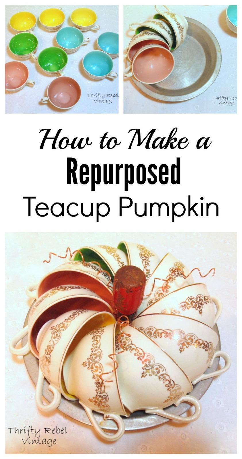 How to make a repurposed teacup pumpkin