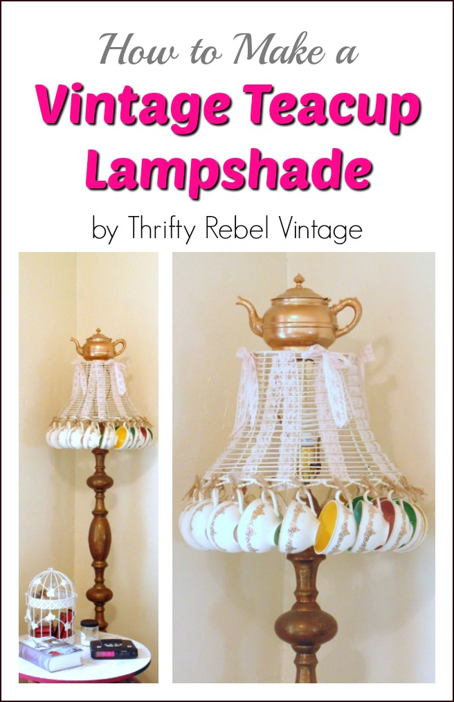 Repurposed vintage teacup lampshade with spray painted teapot on top