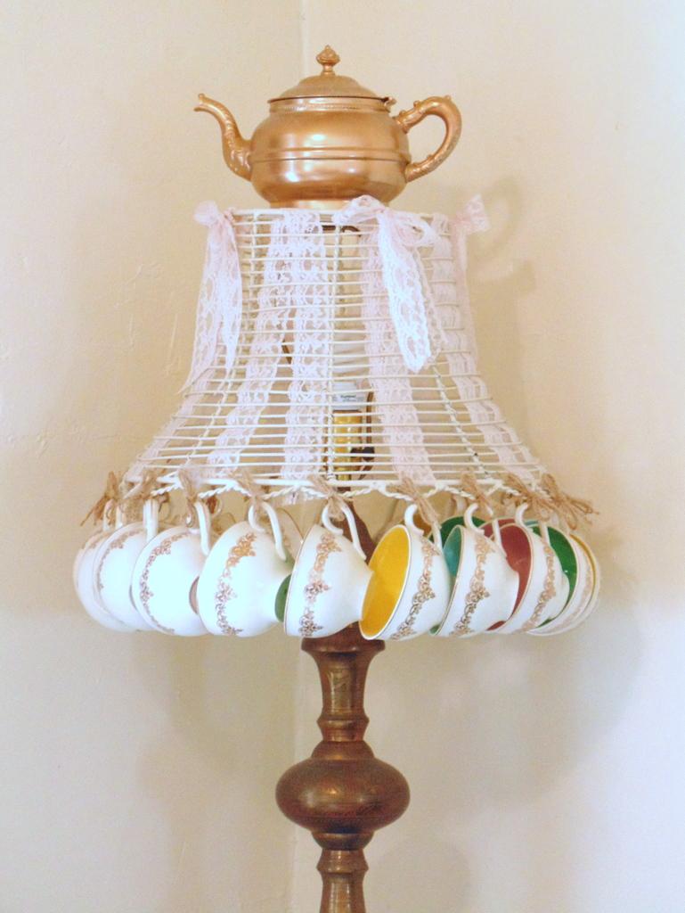 repurposed teacup and teapot lampshade