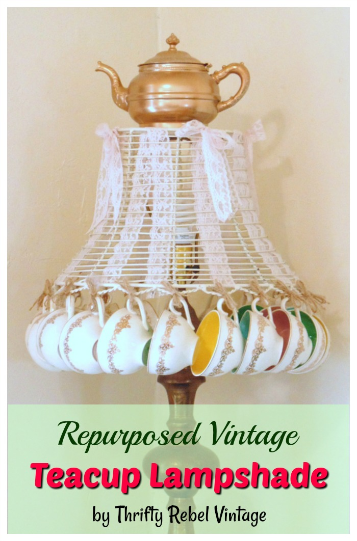 Create a fun repurposed teacup lampshade with a teapot on top.