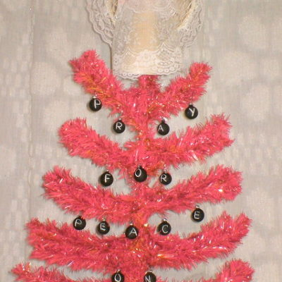 Pray for Peace Pink Christmas Tree