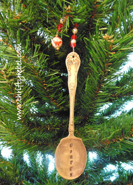 Hand Stamped Silver Spoon Bookmark Ornament