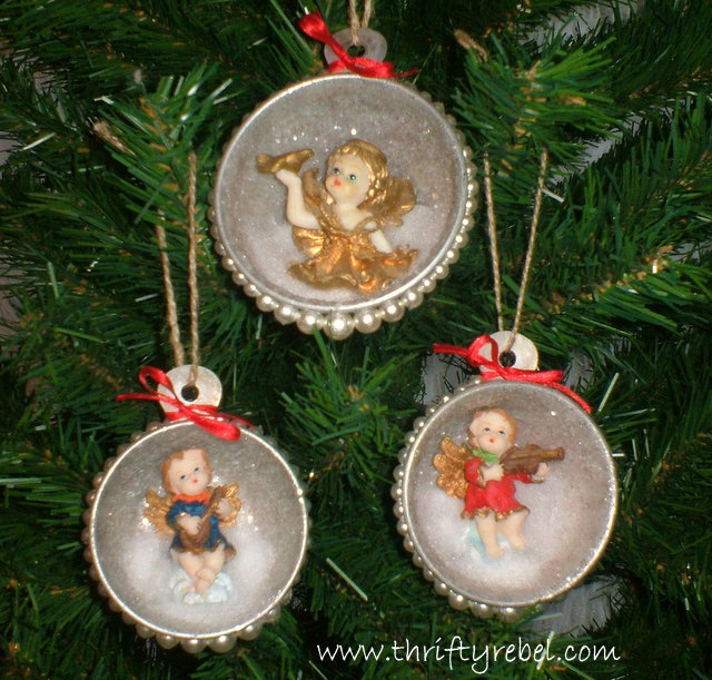 Vintage measuring cup shadow box angel ornaments thrifty for Vintage christmas craft supplies