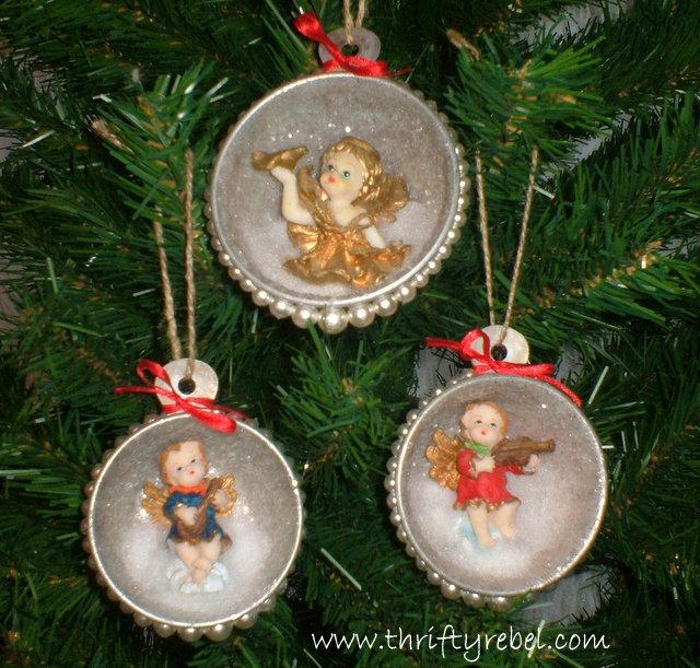 Vintage Measuring Cup Shadow Box Angel Ornaments