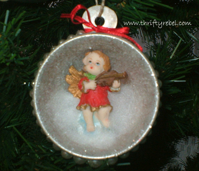 Vintage Measuring Cup Shadow Box Angel Ornaments