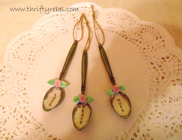 Decoupaged Spoon Ornaments